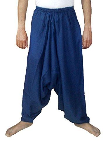 Sarjana Handicrafts Pantalones bombachos para hombres, de algodón, estilo genio, de yoga, harem, Hombre, color azul marino, tamaño L