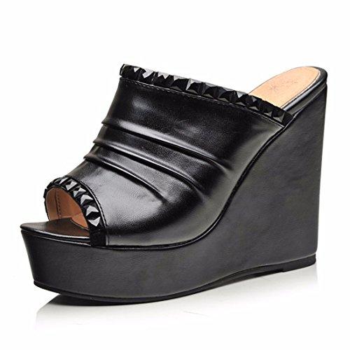 Sandalen Dicke Frauen Kiefer Kuchen Schuhe Europäischen und Amerikanischen Fisch Mund Schuhe Sandalen Hochhackigen Sandalen, Schwarz, 43 (Kiefer-kuchen)