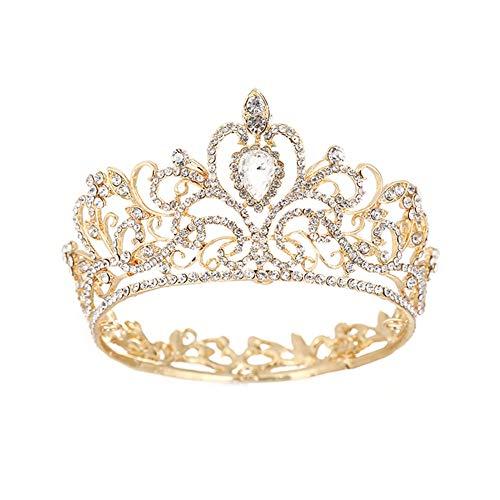 Doitsa Ronde Diadème de Mariage Cristal Nuptiale Couronne de Cristal Strass Coiffe de Mariée...