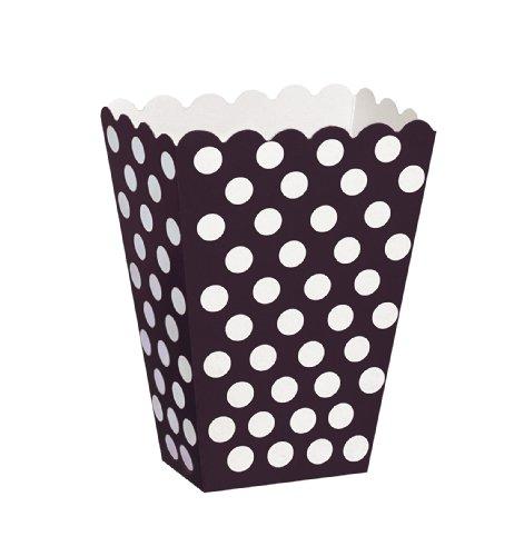 Unique Party - Paquete de 8 cajas para palomitas a lunares, color negro (59290)
