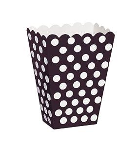 Unique Party- Paquete de 8 cajas para palomitas a lunares, Color negro, 59290)