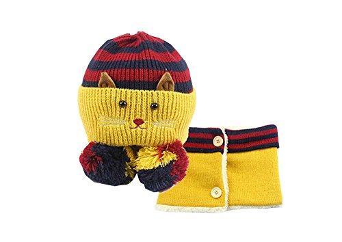 e und Schal Nützliche nette Woll Baby Hat Set Gelb ()
