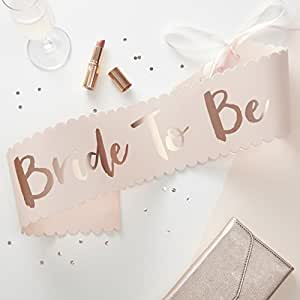 Ginger Ray Rosa & Rose Gold Classy Designer Schärpe Bride To Be–Team Braut