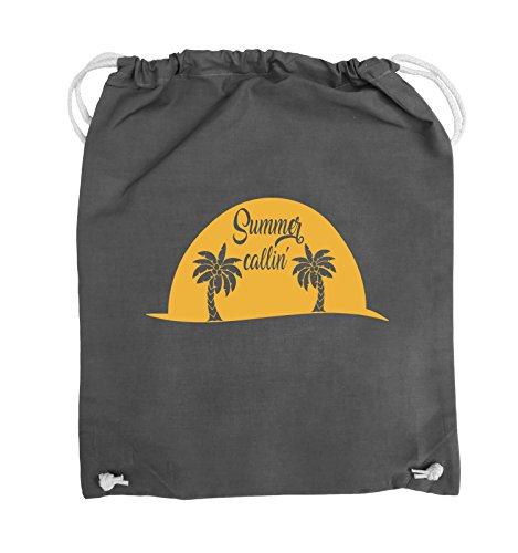 Comedy Bags - Summer callin - PALMEN - Turnbeutel - 37x46cm - Farbe: Schwarz / Silber Dunkelgrau / Gelb
