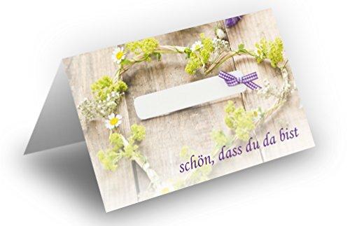 50 Tischkarten (Grün mit Schleife) UV-Lack glänzend - für Hochzeit, Geburtstag, Taufe, Kommunion, Firmung, Jubiläum als liebevolle Tischdekoration!Format 8,5 x 11,2 cm