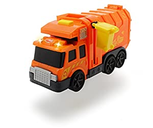 Dickie- Camión de Basura Action Series 15cm 3302000 Vehículo de Juguete con función, Color Naranja (