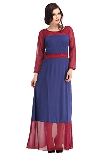 Raas Prêt Stylish maroon sheer lace yoke and belt w/ Blue georgette sleeve & detailing, slimming eveningwear maxi dress  available at amazon for Rs.599