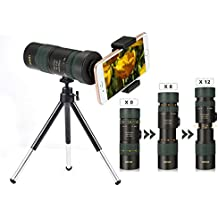 Telescopio Monocular 100x30 , OUTERDO Zoom Óptico Agua-resistente 10-100X Múltiples Ajustados Arbitrariamente ,Con Trípode+ Adaptadores de Teléfono Celular Universal Para,Para Vista Aerea, Observación