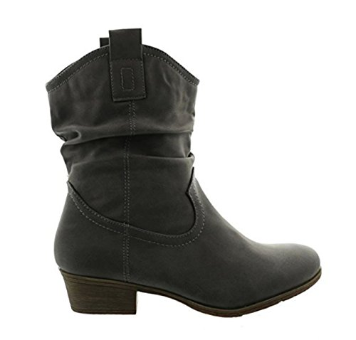 King Of Shoes Damen Stiefeletten Cowboy Western Stiefel Boots Schlupfstiefel Schuhe 37 (41, Grau 36)
