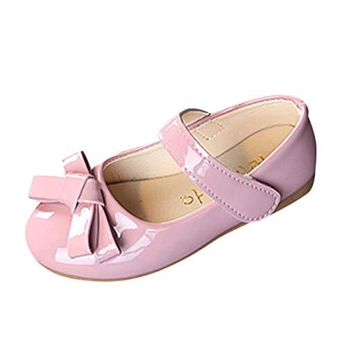 Mary Jane Schuhe für Mädchen Prinzessin Kunstleder Bowknot Ballerina Festliche Kinderschuhe XXYsm Rosa 25 EU/3.5-4 Jahre -