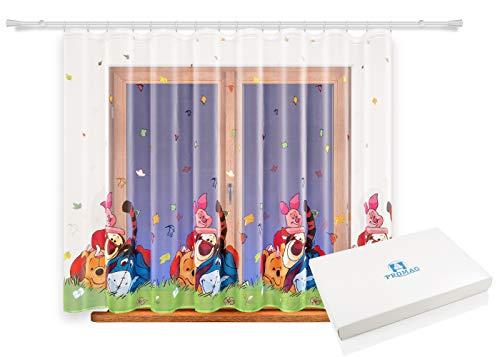 Promag Vorhang Gardine mit Kräuselband Kinderzimmer Disney Kindergardine Mädchen Weiß 320 cm Extra Breit Minnie Mouse Motiv Scheibengardine Kurzgardine Voile Transparent Kurz Tunnelzug Durchsichtig