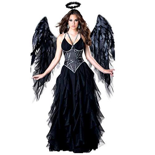 TINGSHOP In Character Costumes Dark Angel Kostüm Für Damen, Classic Fallen Angel Cosplay Kleid Mit Flügeln Lady Perform Kostüme Halloween Weihnachten Teil Karneval Maskerade (Edle Maid Kostüm)