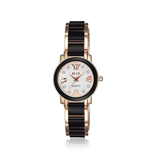 iLove EU Damen Armbanduhr Römische Ziffern Runde Zifferblatt Rose Gold Schwarz Keramik Legierung Band Analog Quarz Uhr Luxus Charm