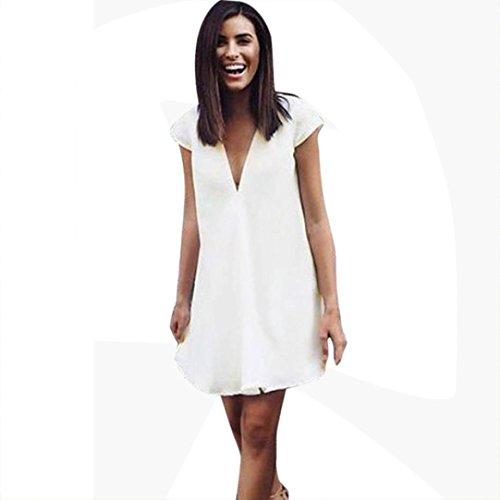BZLine® Frauen Kurzarm V-Ausschnitt lose Sundress Mini Beach Kleid Minikleid Weiß