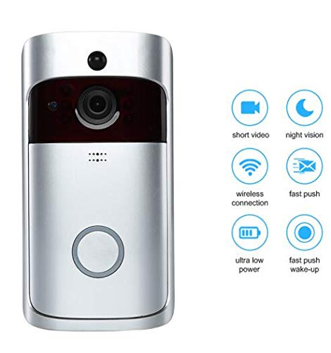 Überwachungskamera WiFi Video Smart Türklingel Mit Kamera Ir Eingang Tür Alarm/Viewer Foto Video Intercom Home Security Wireless Tür Glocke Ring Silber -