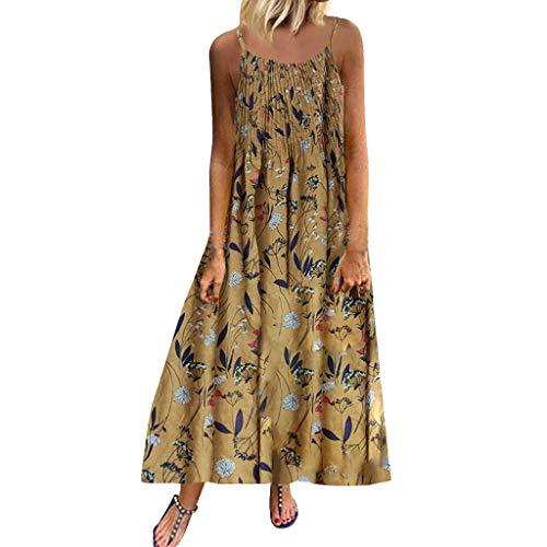 Fenverk Damen Leinenkleid Sommer V-Ausschnitt Strandkleid Einfarbig A-Linie Kleid Knielang Casual Lose T-Shirt Kleidersommerkleid Leinen Kleider Strandkleider Ohne ZubehöR M-5XL(A Gelb,XL)