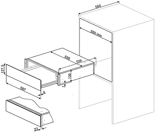 Smeg CTP9015B - warming drawers (White, 20.5 L, Push, 0-80 °C, 59.700 cm, 53.800 cm)