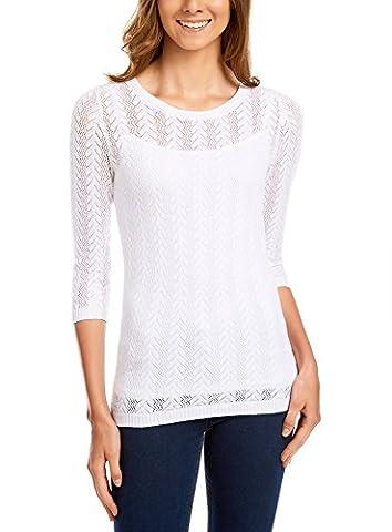 oodji Ultra Women's Cable Knit Cotton Pullover, White, UK 4 / EU 34 / XXS