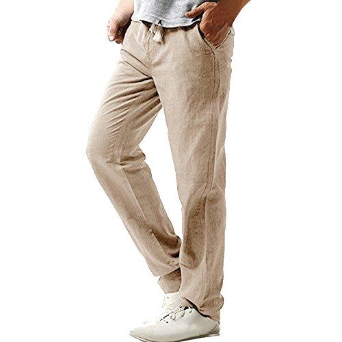 Gusspower Pantalones Hombre Verano Pantalones de Lino Sueltos Pantalón de Playa con Bolsillos Laterales Pantalones Hombres Pantalone Casuales Transpirable Cómodo