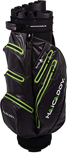 tour-made Waterproof Wasserdicht WP14 V2 Organizer Trolleybag Cart Bag Golftasche Golfbag Modell 2019 (dunkelgrau-Lime)