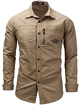 [Sponsorizzato]Showu Uomo Camicia Casual 100% Cotone Manica Lunga Sportivo Slim Fit Camicia