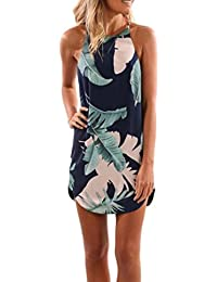 vovotrade azul oscuro El verano ocasional del halter deja la impresión sin mangas de la playa del sol mini vestidos