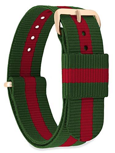 MOMENTO Correa de Reloj de Nato Nailon para Mujer y Hombre con Hebilla de Acero Inoxidable en Oro Rosado y Tela de Rayas en Verde Rojo