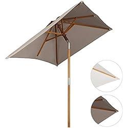Sekey® sombrilla parasol de madera para terraza jardín playa piscina patio 200 × 150 cm crudo rectángulo protector solar UV50+