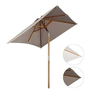 Sekey® 200 × 150 cm Parasol en bois inclinable pour patio jardin balcon piscine plage rectangulaire Beige / Taupe Sunscreen UV50+