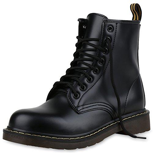 SCARPE VITA Damen Stiefeletten Outdoor Worker Boots Metallic Schnürschuhe 160977 Schwarz 35