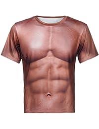 SUCES Männer 3D-Druck Muskel Pullover Kurzarm Casual T-Shirt Tops Bluse  Sommer T-Shirt Tops Kurzarm Sport Hemd Casual Oberteil… e10c58df03