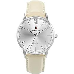 fendior Wasserdicht Retro Herren Leder Band Weiß Zifferblatt Slim Silberfarben Quarz Uhren