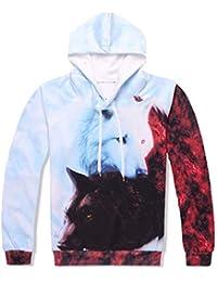 Impresión de Animales Sudaderas con Capucha y Conjuntos de pantalón Hombres Mujeres  Hip Hop Impresión en 3D Doble Lobo… 8807a124cfe