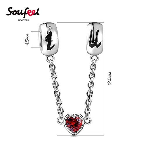 Soufeel Ich Liebe Dich Rot Herz Kristall Sicherheitskette 925 Sterling Silber