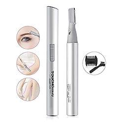 TOUCHBeauty AG-815S wasserfestes Augenbrauentrimmer - Professionelles Präzisionstrimmer für die Entfernung von Augenbrauenhaaren, Nasen, Ohren, und Gesichtsbehaarung(Silber)