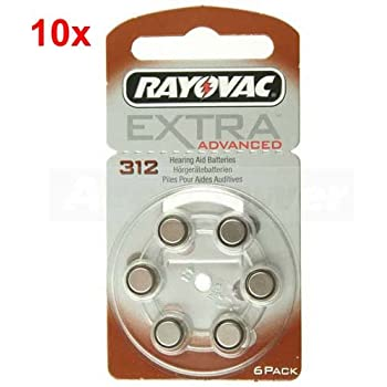 Rayovac Extra Type 312 Hearing Aid Batteries Zinc Air P312 PR41 ZL3 Pack of 60