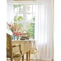 Belle Cose Keten Görünümlü Kullanıma Hazır Düz Kırık Beyaz Tül Perde-Kırık Beyaz-330X250 cm