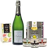 Coffret Champagne Apéro et Chocolat - coffret cadeau gastronomie - Champagne Brut, trio d'apéro bio Aix et