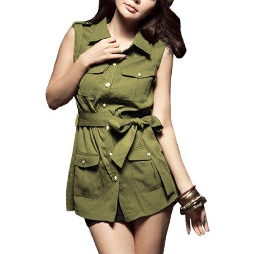 Femme Col Pointu Épaulettes Ciselé Chemise Bouton Vert Olive