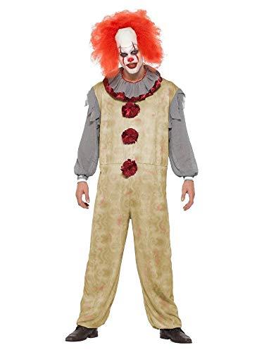 Kostüm Mädchen Clown Mörder - shoperama Herren-Kostüm Vintage Clown Geist Killer Pennywise Halloween gruselig Horror Es Mörder gruselig Overall, Größe:XL