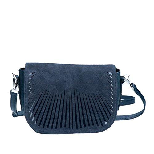 Bright - Celeste- Borsa In Pelle Ed Ecopelle Made In Italy - Borsa A Tracolla blu