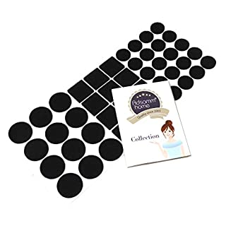 Adsamm® | 44 x felt pads | black | different sizes | Ø 1.1'' (Ø 2,8 cm) | Ø 0.79'' (Ø 2 cm) | 0.98'' x 0.98'' (2,5x2,5 cm) | self-adhesive furniture glides with felt thickness of 0.138''/3.5 mm in top-quality by Adsamm®