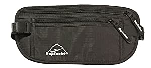 Hopsooken Travel Money Belt: Waist Pack for Running and Cycling, Rfid, Comfortable, Durable and Lightweight Hidden Travel Passport Wallets (Black)