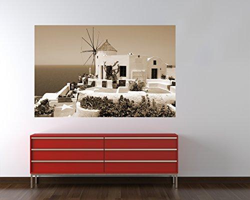 Fototapete selbstklebend griechische Mühle - sephia 100x65 cm - Wandtapete - Poster - Dekoration - Wandbild - Wandposter - Bild - Wandbilder - Wanddeko