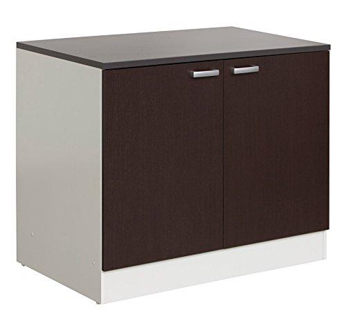 Base cucina componibile con top e due ante bianco e wengè BS9956 ...