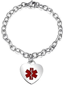 Bling Jewelry Edelstahl Oval Link Medizin Alarm Herz-ID-Armband 7,5 in