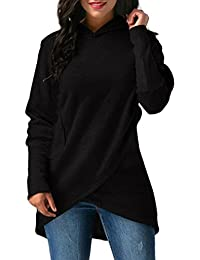 OverDose blusa sudadera con capucha de mujer elegantes abrigos y dobladillo asimétrico