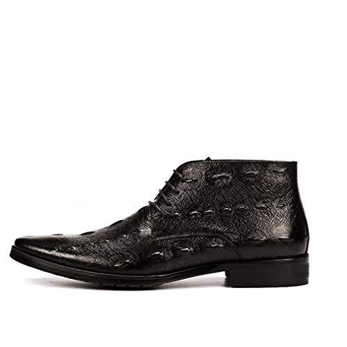 Hy Chaussures en Cuir pour Hommes, Chaussures de cérémonie, Personnalité Pointue, Chaussures de soirée de Noces Coiffeur Styliste Soirée (Couleur : Noir, Taille : 45)