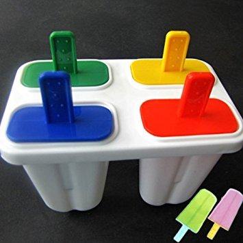 HuntGold Ice Cream Freeze Lollypop Lollipop Maker Tray Cube Mould Mold+4 Colors Stick SET(random)