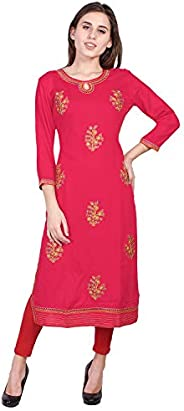 Vihaan Impex Rayon Straight Embroidered Mirror Work Printed Kurti for Women Tunic Tops